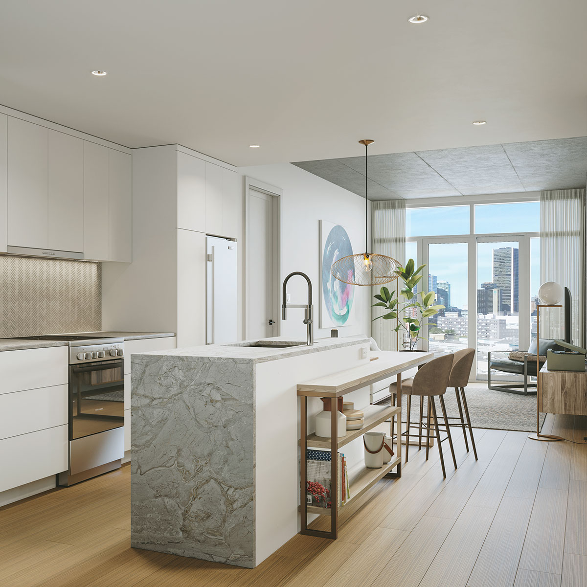Luxury Living room and kitchen of Joia Apartment located in griffintown