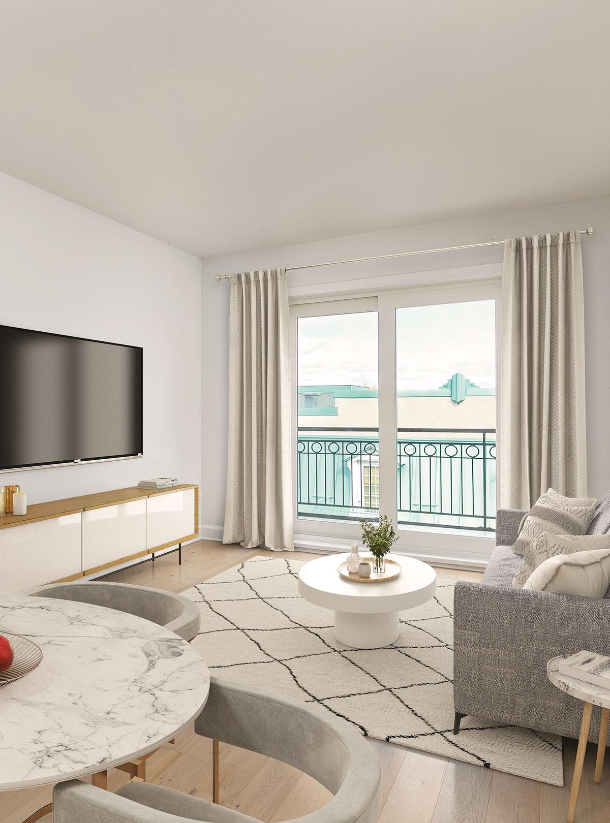 Salon d'un appartement Joia St-Hyacinthe