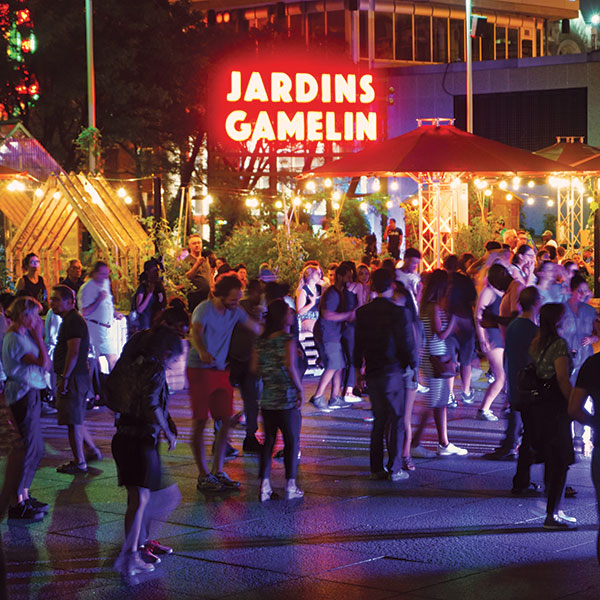 Party times at Jardins Gamelin next to Ville Marie Joia condo rentals