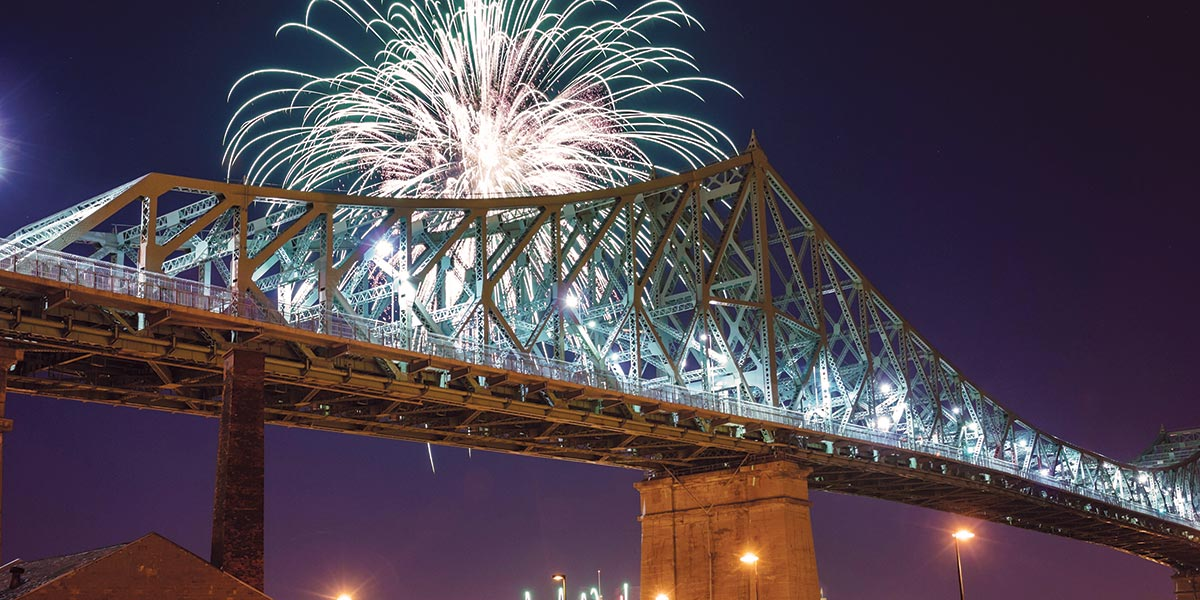 Fireworks and bridge near Joia ville marie